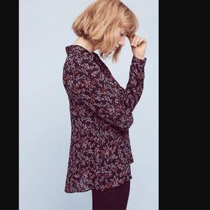 Maeve Bainbridge Black Floral Button Blouse Top
